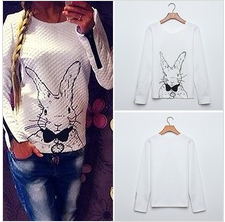 4530 New Fashion 2014 Women Hoody Spring Autumn Casual Sweatershirt Women Rabbit Printed Hoodies Pullovers With Zipper