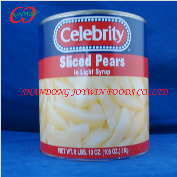 Canned pear sliced in light syrup, usa canned fruit supplier