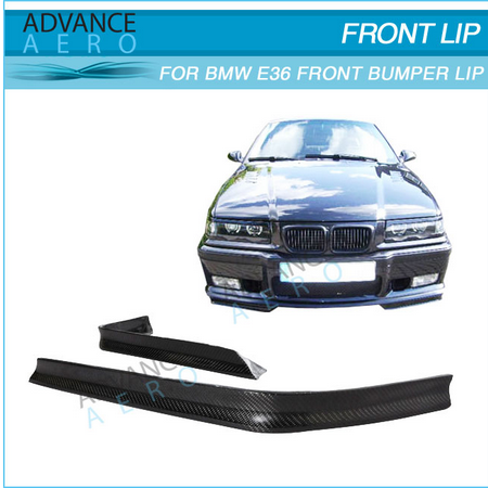 FOR 92 93 94 95 96 97 98 BMW E36 318 325 328 MTEC STYLE FRONT BUMPER LIP SPOILER SPLITTER CARBON FIBER BODY KIT