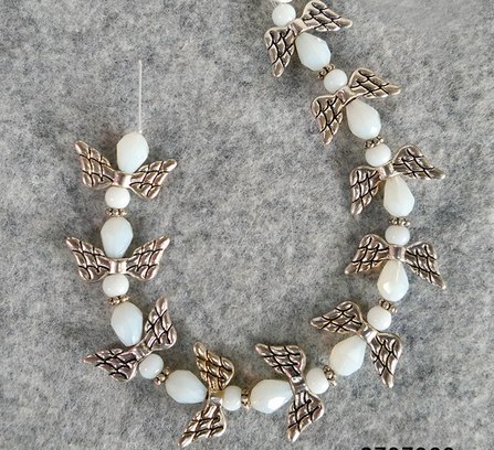 Faceted Teardrop Opaque White Glass Beads mix Angel Wings