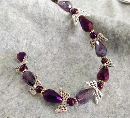 Wholesale Amethyst Teardrop Red Glass Beads mix Angel Wings
