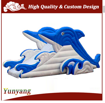 Dolphin shape inflatable slide for pool, inflatable floating water slide