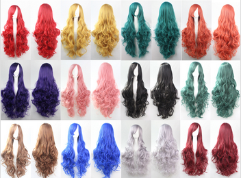 Fashion synthetic hair wigs Long curly Big wave wigs different colors