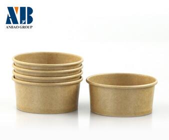 Custom printed disposable kraft paper soup cups
