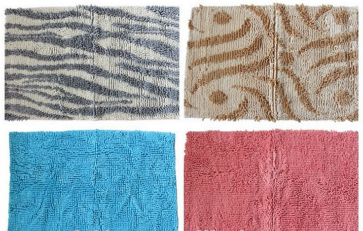 chenille microfiber washable bathmat