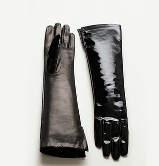 bright color long leather gloves