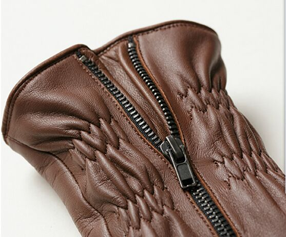 winter skin tight warm sheep leather gloves