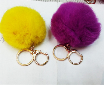 New arrival 2015 Fashion rabbit fur Ball KayChain with multicolor