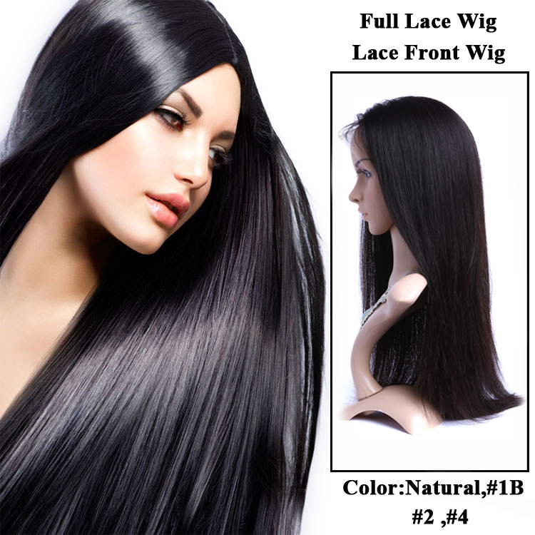 Top Quality Nice Silk Straight Brazilian Human Hair Lace front wigs Full Lace Wig with baby hair YF35