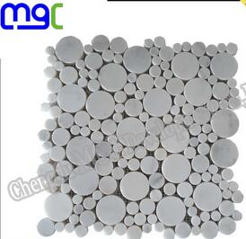 Round stone mosaic tile