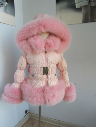 children feather jacket with fox fur trim /wholesale and retail