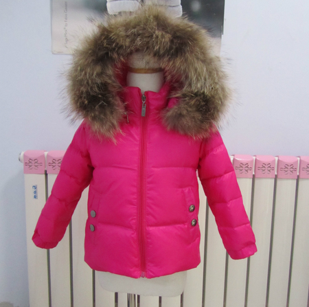 wholesale children feather jacket with raccoon fur hood