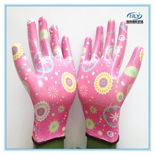 13G nitrile coated flexibility women garden work gloves