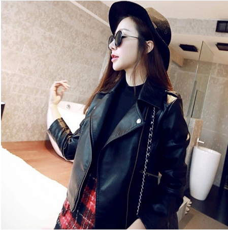 The new spring 2015 locomotive ms han edition PU leather jacket bigger sizes to brief paragraph cultivate one's morality Small s