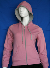 Fashion women zip jersey plain hoodies