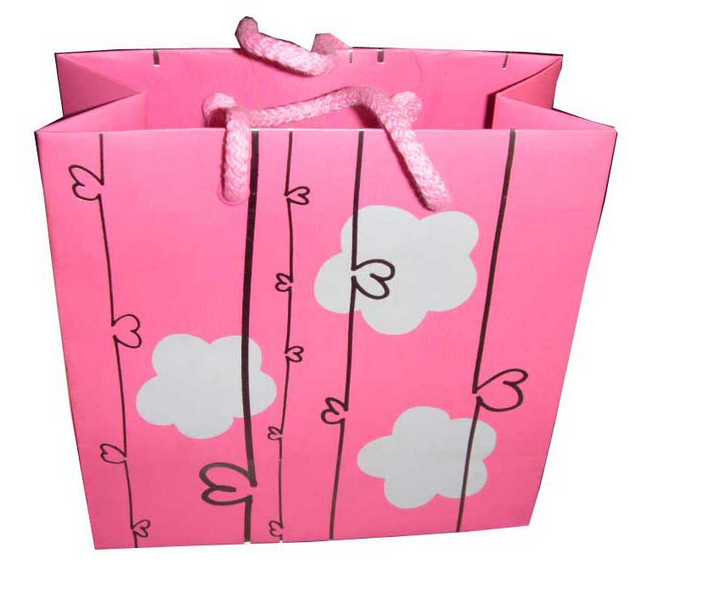 Cartoon cloud paper shopping bag , customized promotional paper bag for retail