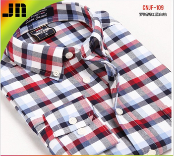 OEM 100% cotton red check casual shirt