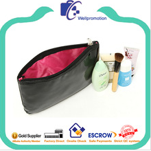 Wholesale cheap trendy shiny black makeup bag for promotion