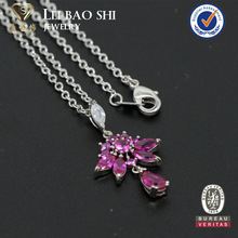 White/Ruby/Yellow gemstone necklace in rhodium plating