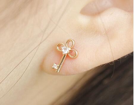 Fashion Women Jewelry Earrings Hot Key Heart Locket Stud Earrings