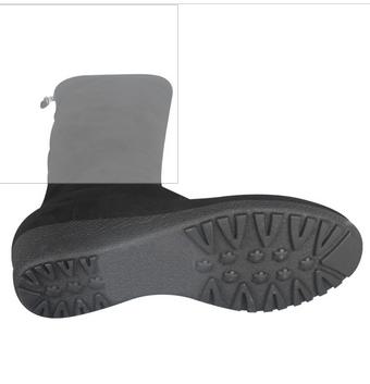 Rubber sole wedge heel knee high suede black boots