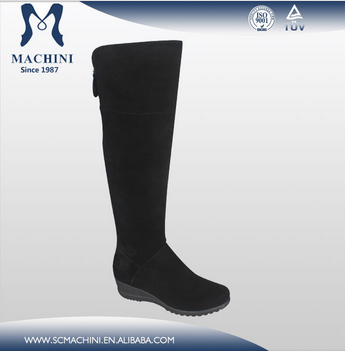 Rubber sole wedge heel knee high suede black boots