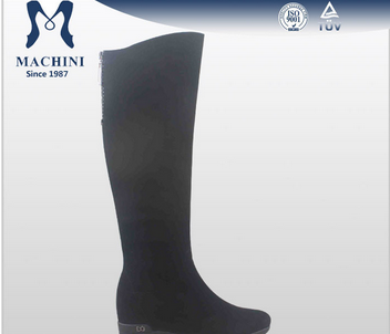 Sheepskin fur lined black leather wedge snow suede boots
