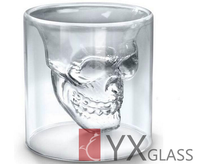 150ml high borosilicate Skull Heads double wall glass coffee/tea/beer/water cups