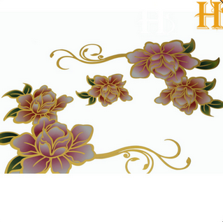 gold color shining furniture flower decals with water transfer film