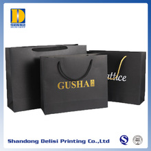 Made in China Best Sale Matt Black Hot Stamping Art Paper Bags with Logo