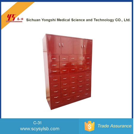 Red Color Traditional Antique Chinese Medicine Storage Medical Cabinet