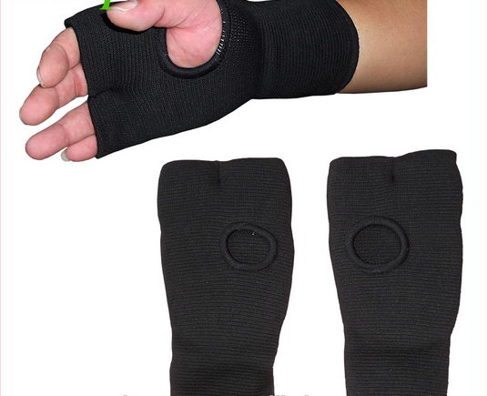 black Hand Protectors Karate Mitts, Elasticated Hand Mitts