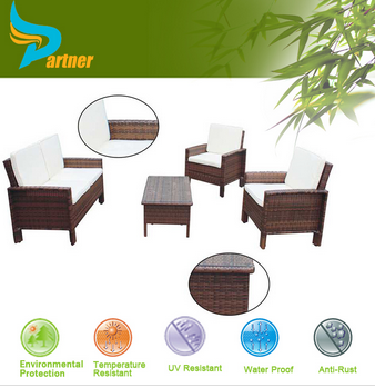 PTN-TOP18 Partner Modern KD Design Outdoor Hotel Wicker Garden Sofa Set / Rattan Sofa Hotel Furniture Set