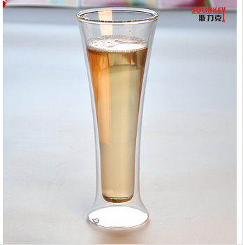 Tall and thin double walled drinking glass cup