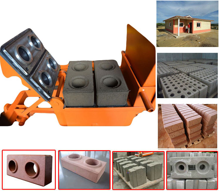 QMR2-40 manual soil paver bricks machinery low price clay hollow block making machine