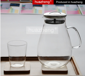 Hot sale high quality 1.3 litre clear tea glass pot with handle
