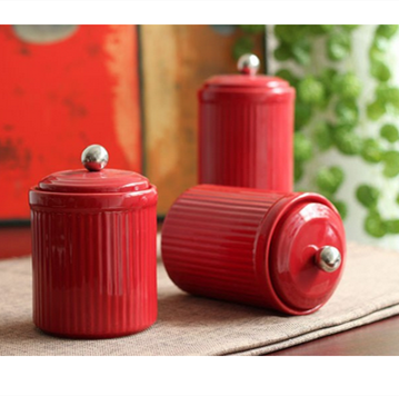 Red color ceramic pot,ceramic pot with lid,sugar&coffee beans pot