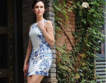 2015 New fashion ladies chinese tranditional blue and white porcelain sleeveless waisted dress