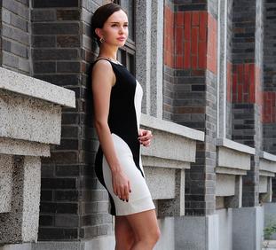 2015 latest designs ladies balck and white elegant sleeveless waisted dress