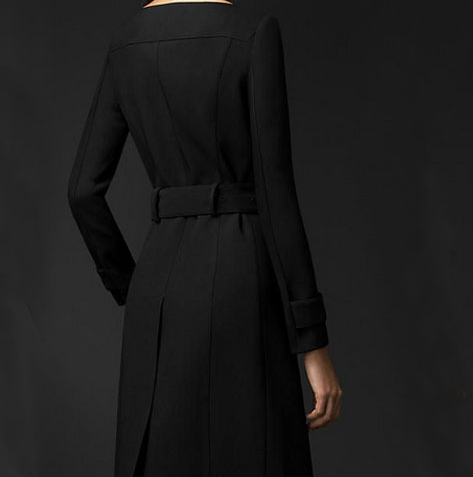 2015 latest designs fashion elegant double-breast round colar long black coat