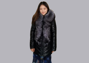 2015 China manufacture lamb leather long down jacket Z15003