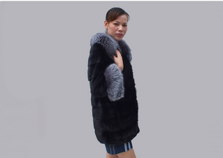 winter turn-down collar black mink fur coat women