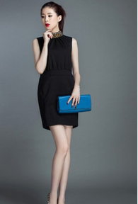 Fur dress sleeveless slim women guangzhou garment factory