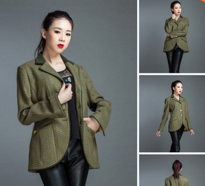 Wollen lady jacket mandarin collar suit