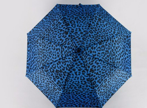Hot sale high quality custom blue fold leopard print umbrella