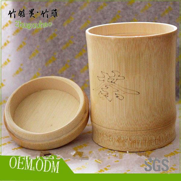 Custom design bamboo tea canister / tea tin