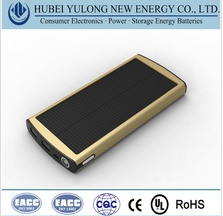 Polymer lithium core portable power bank with solar charging