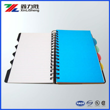PVC spiral note book with ear mark printing Recycle Hard Cover Office Notebook with colorful Marking