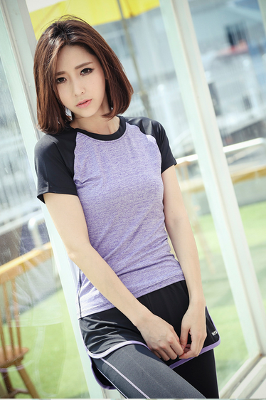 2015 Summer quick dry short sleeve t shirt for women 100 % polyester from China