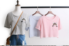 2015 women sweet color short t shirt with cat print / stripe brief design t shirt for lady
